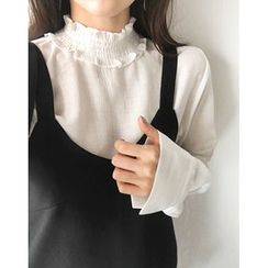 UPTOWNHOLIC - Turtle-Neck Frilled-Trim Top