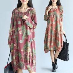 Diosa - Flower Print Long Sleeve Dress