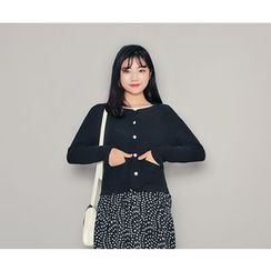 HOTPING - Round-Neck Cotton Cardigan