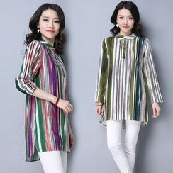 Yeeya - Long-Sleeve Striped Long Blouse