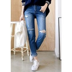 DEEPNY - Distressed Straight-Cut Jeans