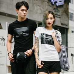 Evolu Fashion - Couple Matching Print Short-Sleeve T-Shirt