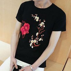 maxhomme - Embroidered Short-Sleeve T-Shirt