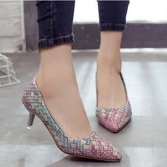 Shoeland - Woven Pointy Pumps