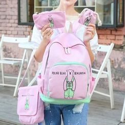 Sweet City - Set: Bear Print Backpack + Cross Bag + Pouch + Drawstring Pouch