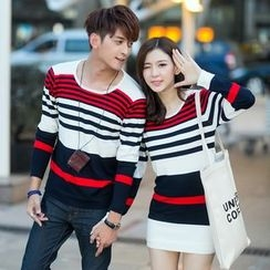 Lovebirds - Couple Striped Sweater