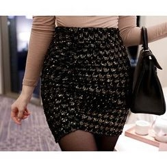Marlangrouge - Glittered Shirred Mini Skirt