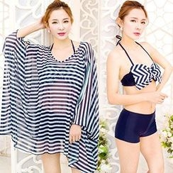 Little Dolphin - Set: Bow Bikini Top + Swim Shorts + Stripe Cover-Up