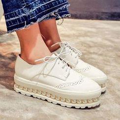 錦洋鞋業 - 厚底布洛克牛津鞋
