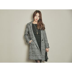 UUZONE - Glen-Plaid Wool Blend Coat