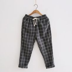 Piko - Check Drawstring Waist Cropped Pants