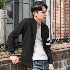 STYLEMAN - Stripe-Trim Sleeve Zip-Up Jacket