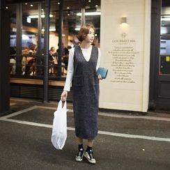 STYLEBYYAM - V-Neck Sleeveless Long Knit Dress