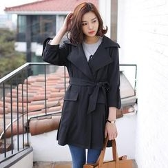 Envy Look - Tab-Sleeve Trench Coat with Sash