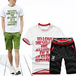 Evzen - Set: Lettering T-Shirt + Drawstring Shorts