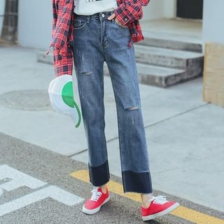 MIKPO - Distressed Panel Jeans