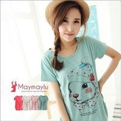 Maymaylu Dreams - Short Sleeve Rabbit-Print T-Shirt