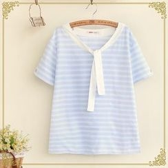 Fairyland - Striped Tie Front Eyelet Detailed Short Sleeve T-Shirt