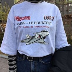 Dute - Airplane Printed 3/4 Sleeve T-Shirt