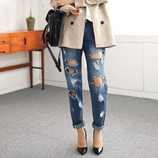 45SEVEN - Washed Distressed Boyfriend Jeans