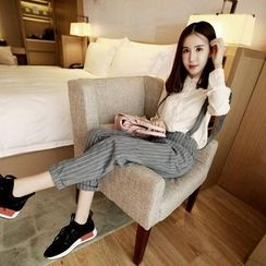 Honey Diary - Striped Cropped Suspender Pants