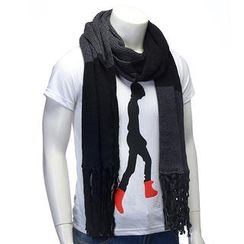 BESTshop - Fringed-Trim Knit Scarf