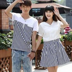 Igsoo - Couple Striped Panel Henley / A-Line Dress