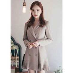 Chlo.D.Manon - Pleat-Hem Double-Breasted Mini Coatdress