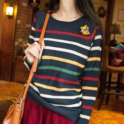 Wimi girls - Owl Applique Striped Sweater