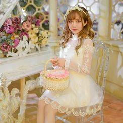 糖果雨 - 長袖蕾絲雪紡連衣裙