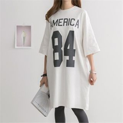 PEPER - Elbow-Sleeve Lettering Long T-Shirt