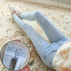 Nassyi - Studded Distressed Washed Jeans