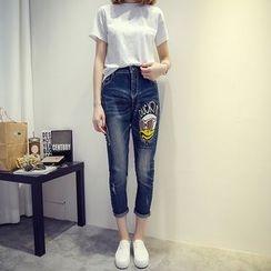 VIZZI - Duck Print Cropped Jeans