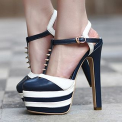Sidewalk - Colour Block High-heel Genuine Leather Pumps