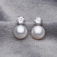 微微珍珠 - 淡水珍珠純銀耳釘