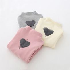 Seashells Kids - Kids Heart Applique Mock Neck Long Sleeve T-Shirt