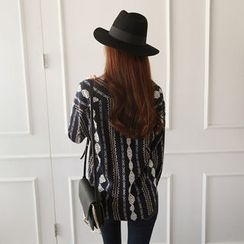 NIPONJJUYA - V-Neck Patterned Blouse
