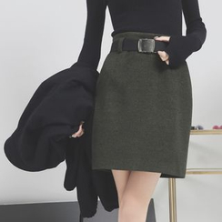 Sonne - Wool Pencil Skirt with Belt