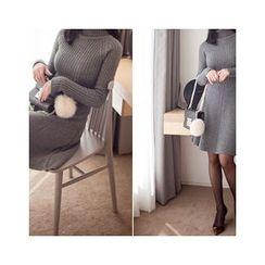 MASoeur - Turtle-Neck A-Line Knit Dress