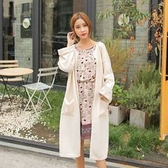 Cherryville - Round-Neck Open-Front Long Cardigan