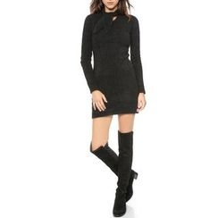 Obel - Tie-Neck Long-Sleeve Knit Dress