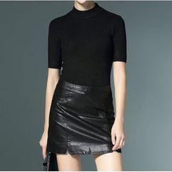 Bantynan - Mock Neck Short-Sleeve Knit Top