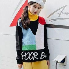 Windflower - Turtleneck Color-Block Sweater