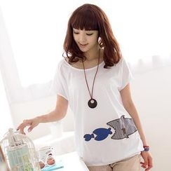 59 Seconds - Fish Appliqué Short-Sleeved Top