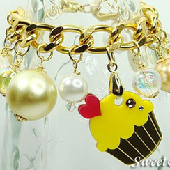 Sweet & Co. - Mini Gold-Yellow Cupcake Swarovski Crystal Charm Bracelet