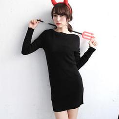 Tokyo Fashion - Long-Sleeve Boat-Neck Knit Tunic