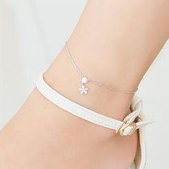 soo n soo - Rhinestone Flower Ankle Bracelet