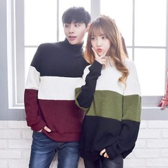 TOMONARI - Couple Mock-Neck Color-Block Sweater