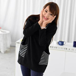 59 Seconds - Striped Pocket Long-Sleeve Oversized Top