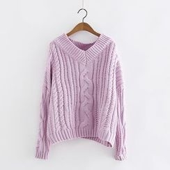 Piko - Plain V-Neck Cable Knit Sweater